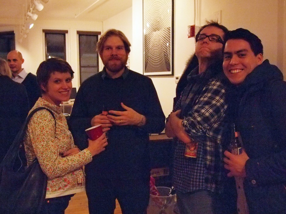 Design Office Members Renee Walker, Benjamin Shaykin and Micah Barrett with RISD 2nd Life co-head Joseph Escobar